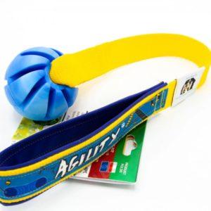Sum Plast Ball an Handschlaufe mit Agility-Borte Hundespielzeug